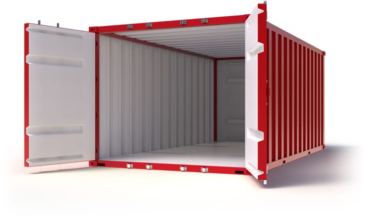 Offener roter Container